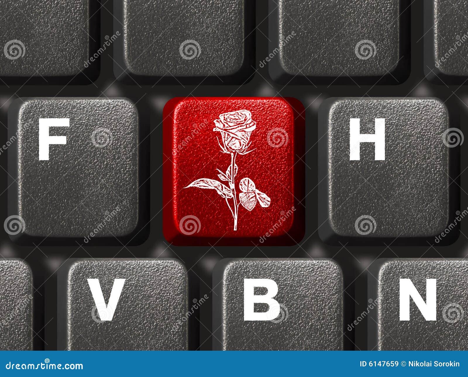 Pc Keyboard With Flower Key Stock Image Image Of Decoration
