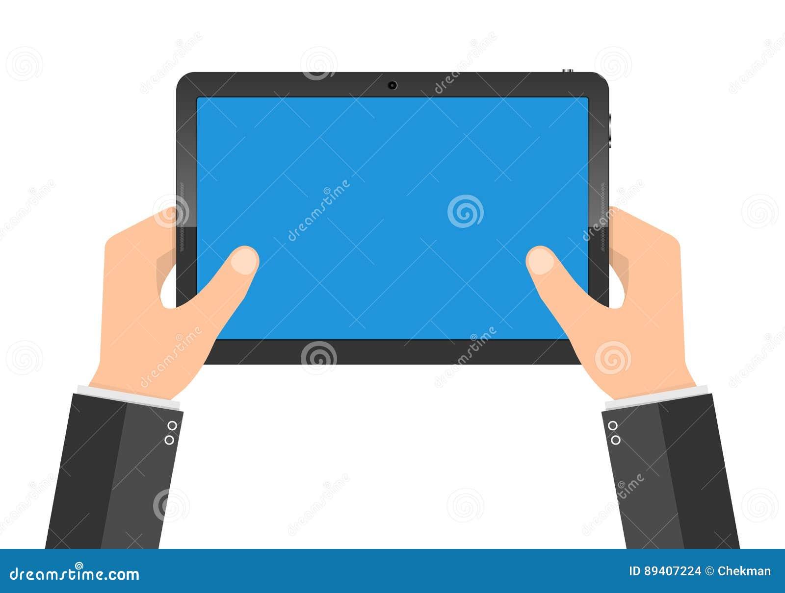 PC moderno da tabuleta com a tela azul nas mãos Ilustração do vetor
