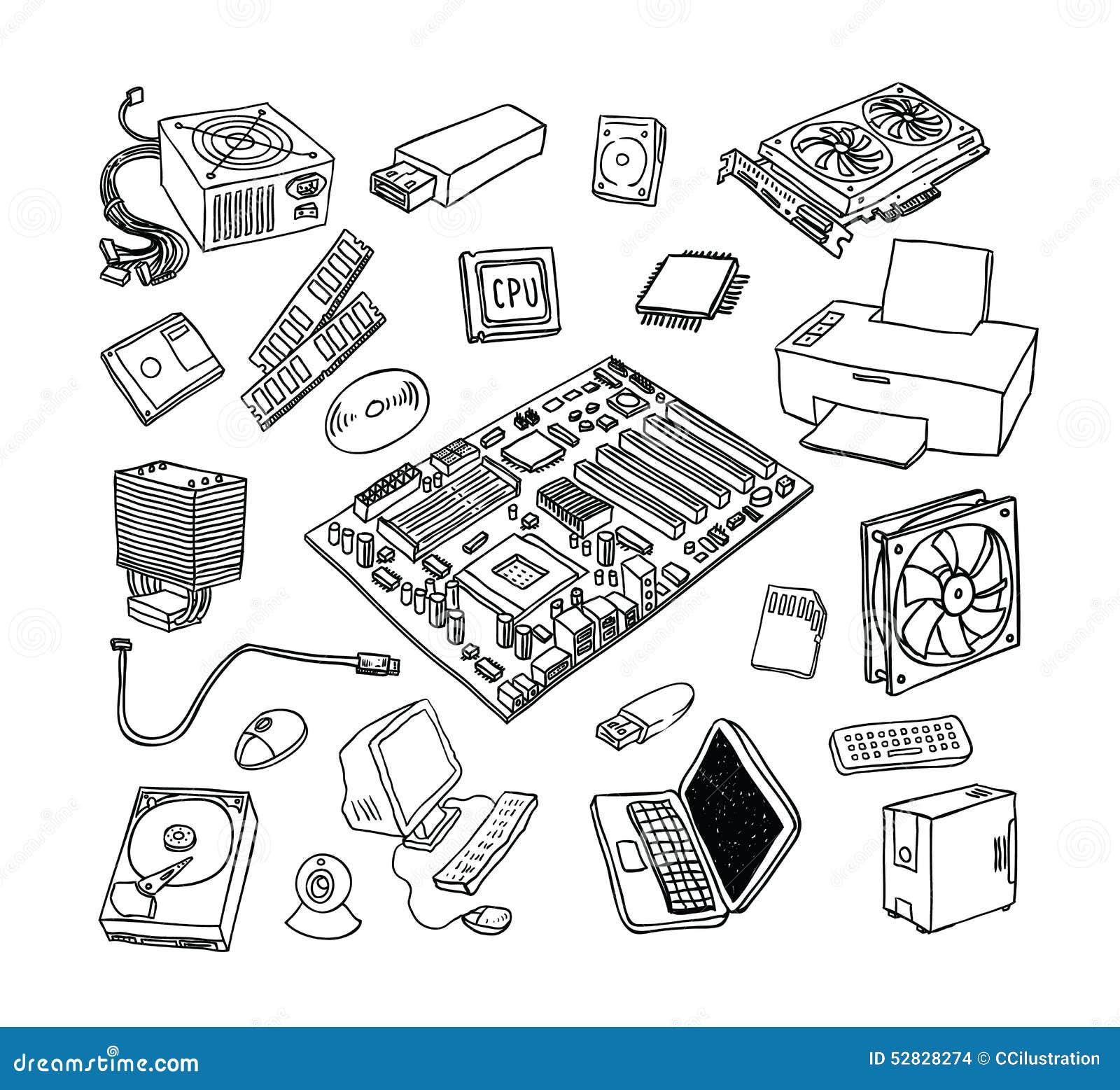 pc teile jede ikone ist eine einzelne nachricht verbundpfad vektor abbildung bild 52828274. Black Bedroom Furniture Sets. Home Design Ideas