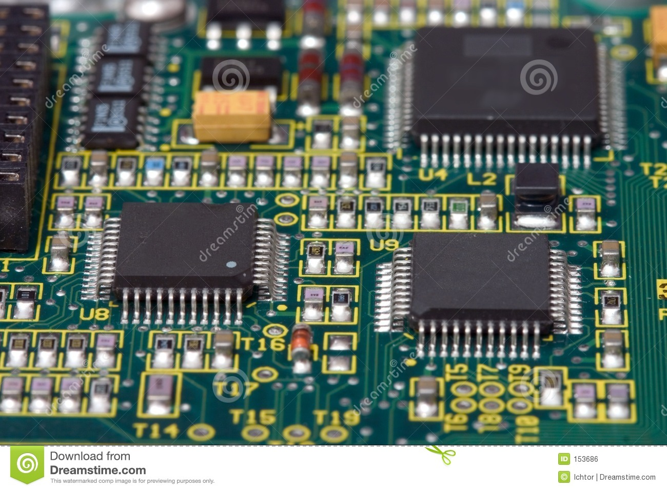 Pcb Stock Photo Image Of Silicon Board Printed Square 153686 Motherboard Circuit Components Find With Microprocessors And Other