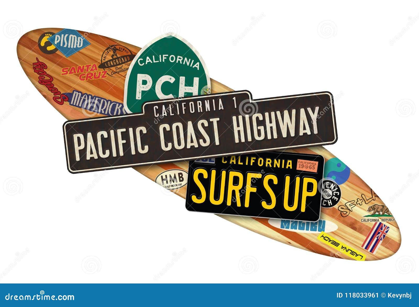PCH California Surfboard Sign Stock Illustration - Illustration of