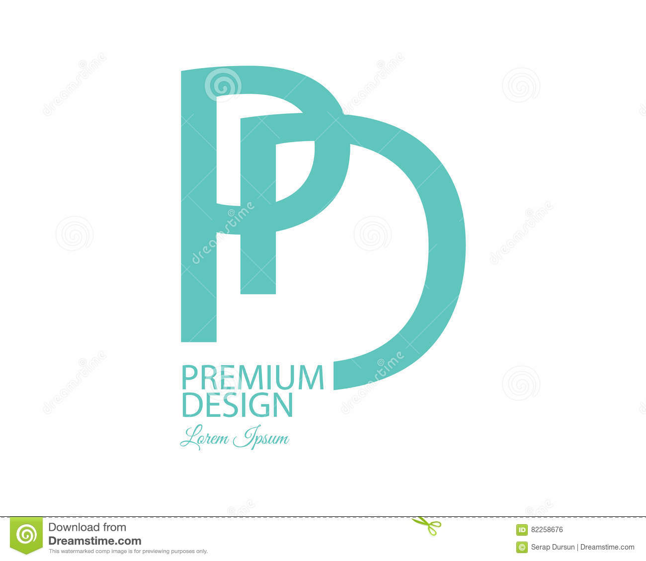layout of a letter pd logo design stock vector illustration of corporate 36116