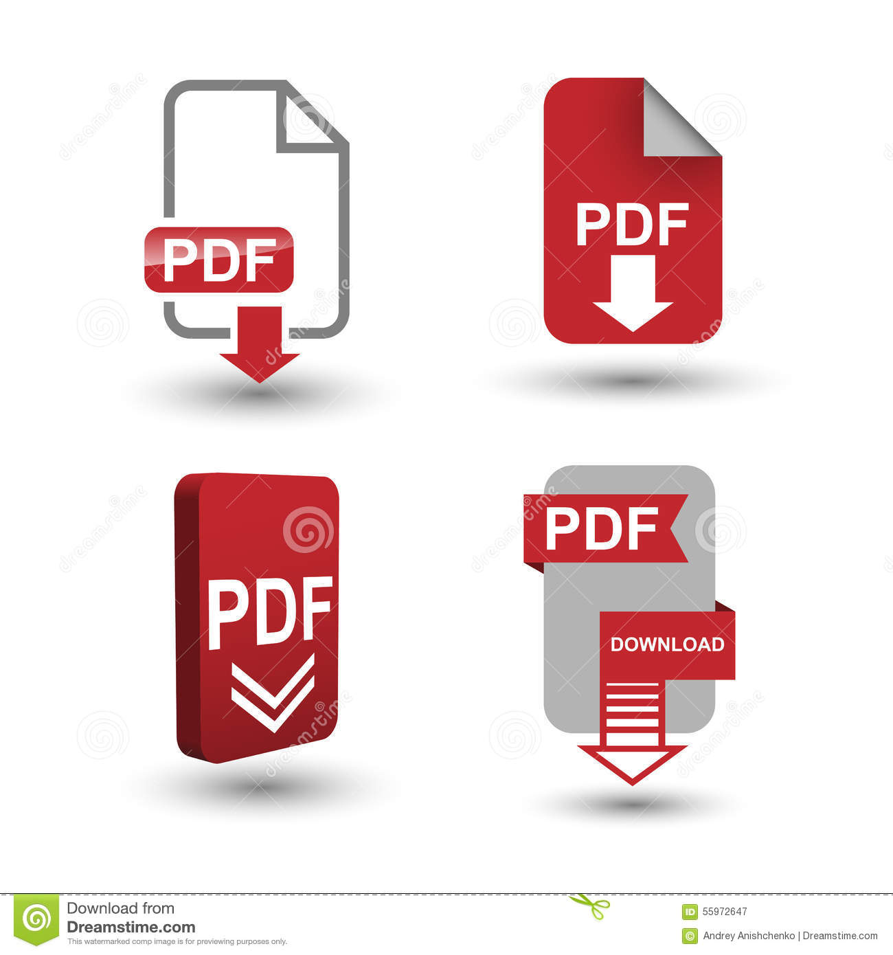 PDF Download Icons Stock Vector. Illustration Of Download