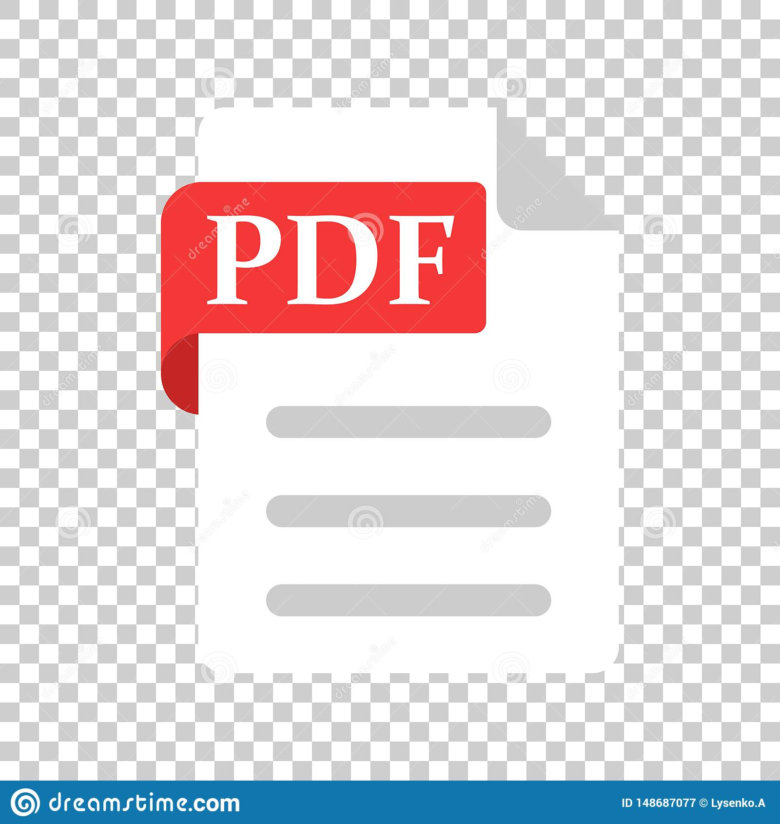 Pdf Icon In Transparent Style Document Text Vector Illustration