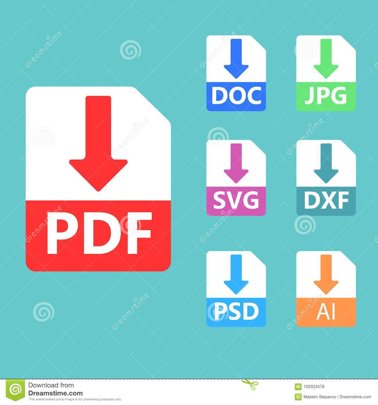 Pdf Svg Doc Jpg Psd Ai File Formats Vector Icons Editorial Stock Photo Illustration Of Banner Document 102023478