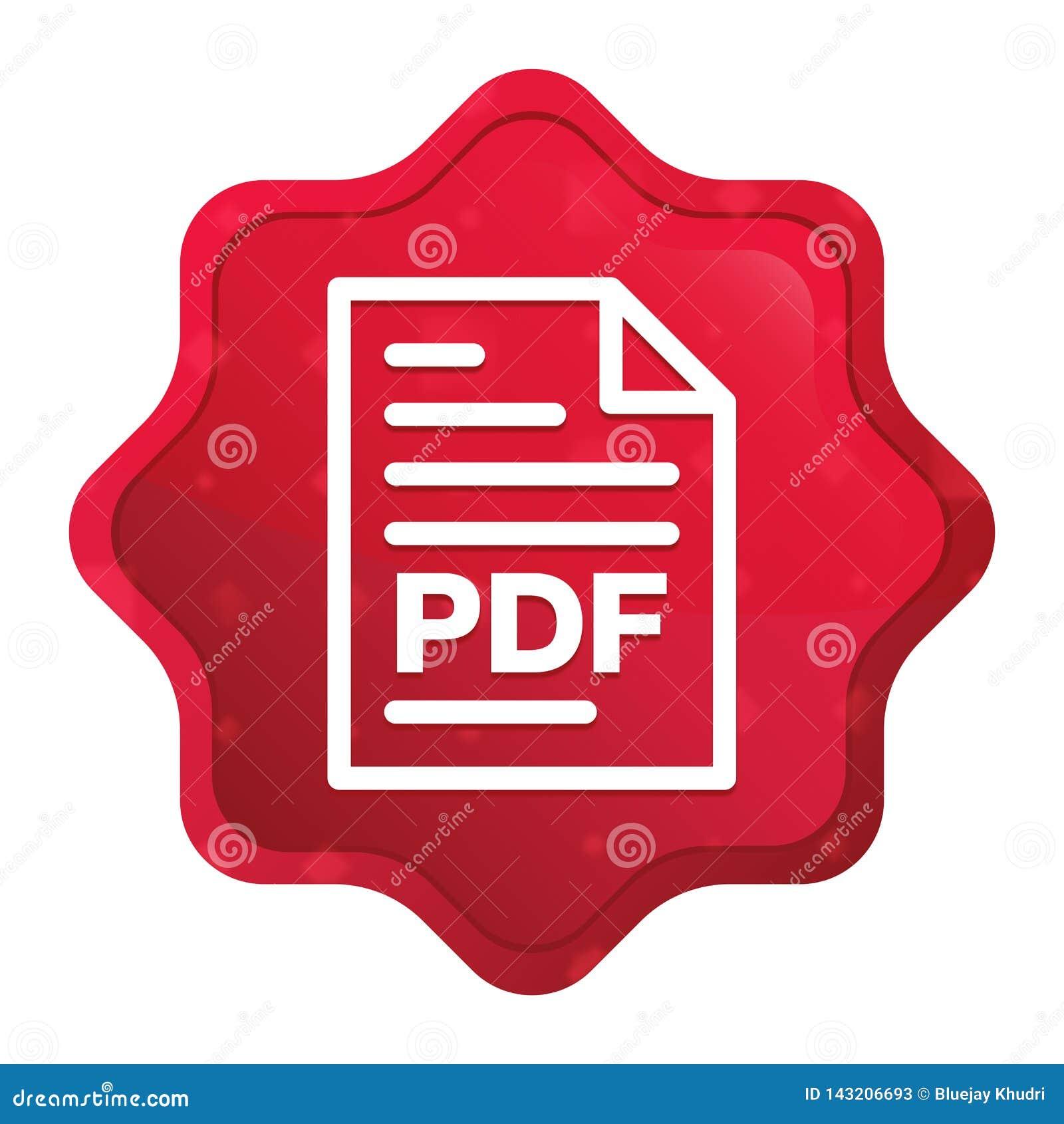 PDF-van het pictogram nevelige rozerode starburst van de documentpagina de stickerknoop