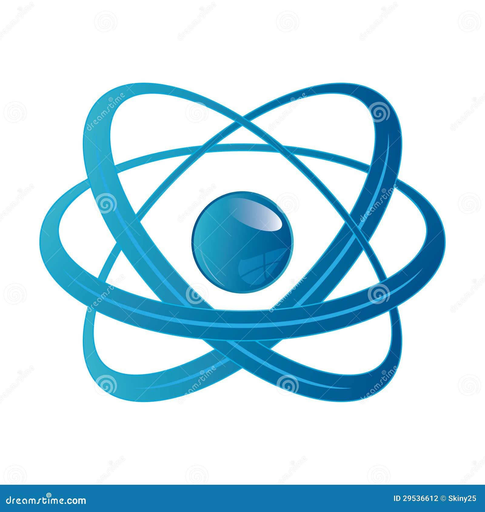 Peça do átomo no fundo branco.