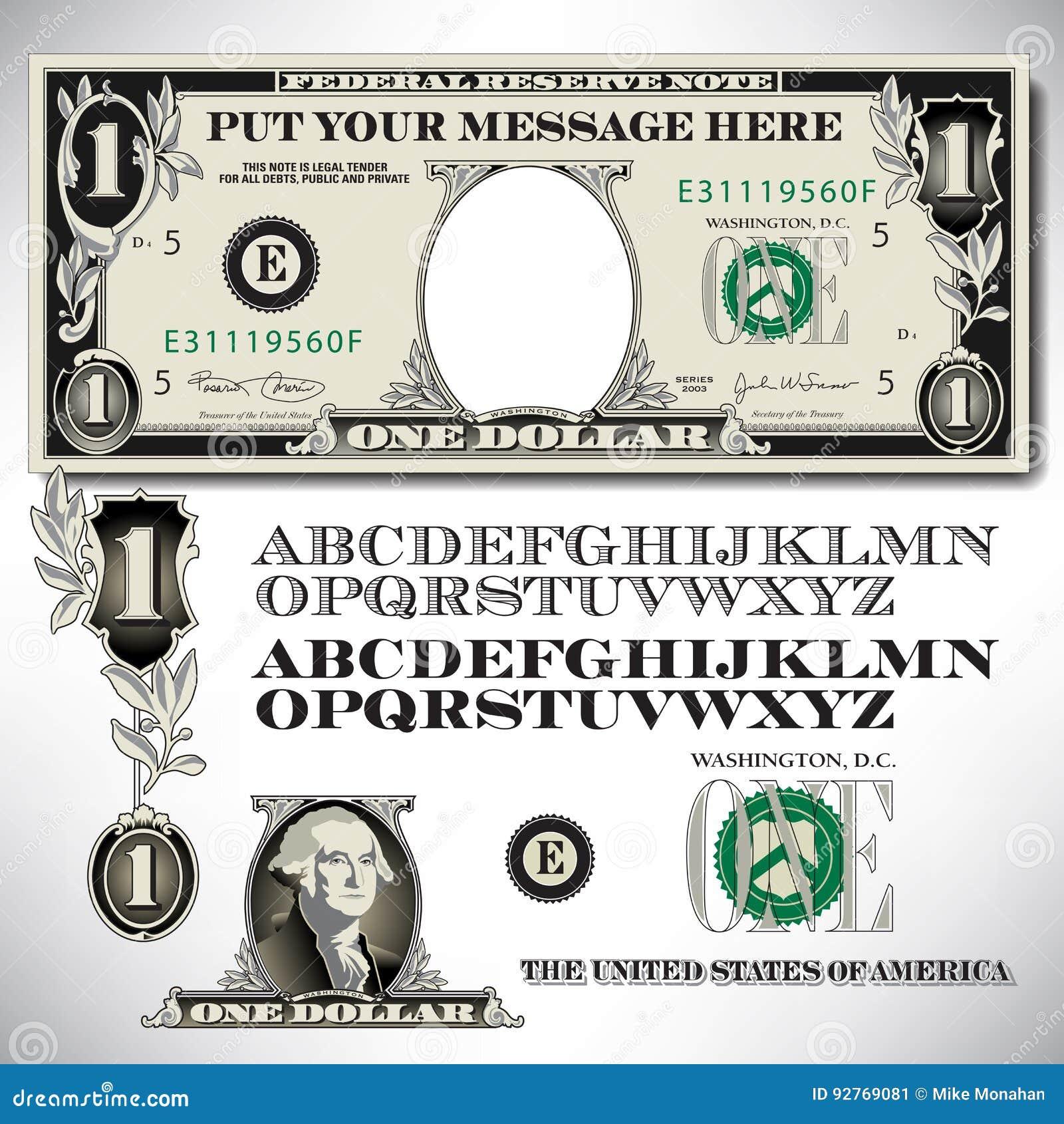 Peças de uma nota de dólar com um alfabeto