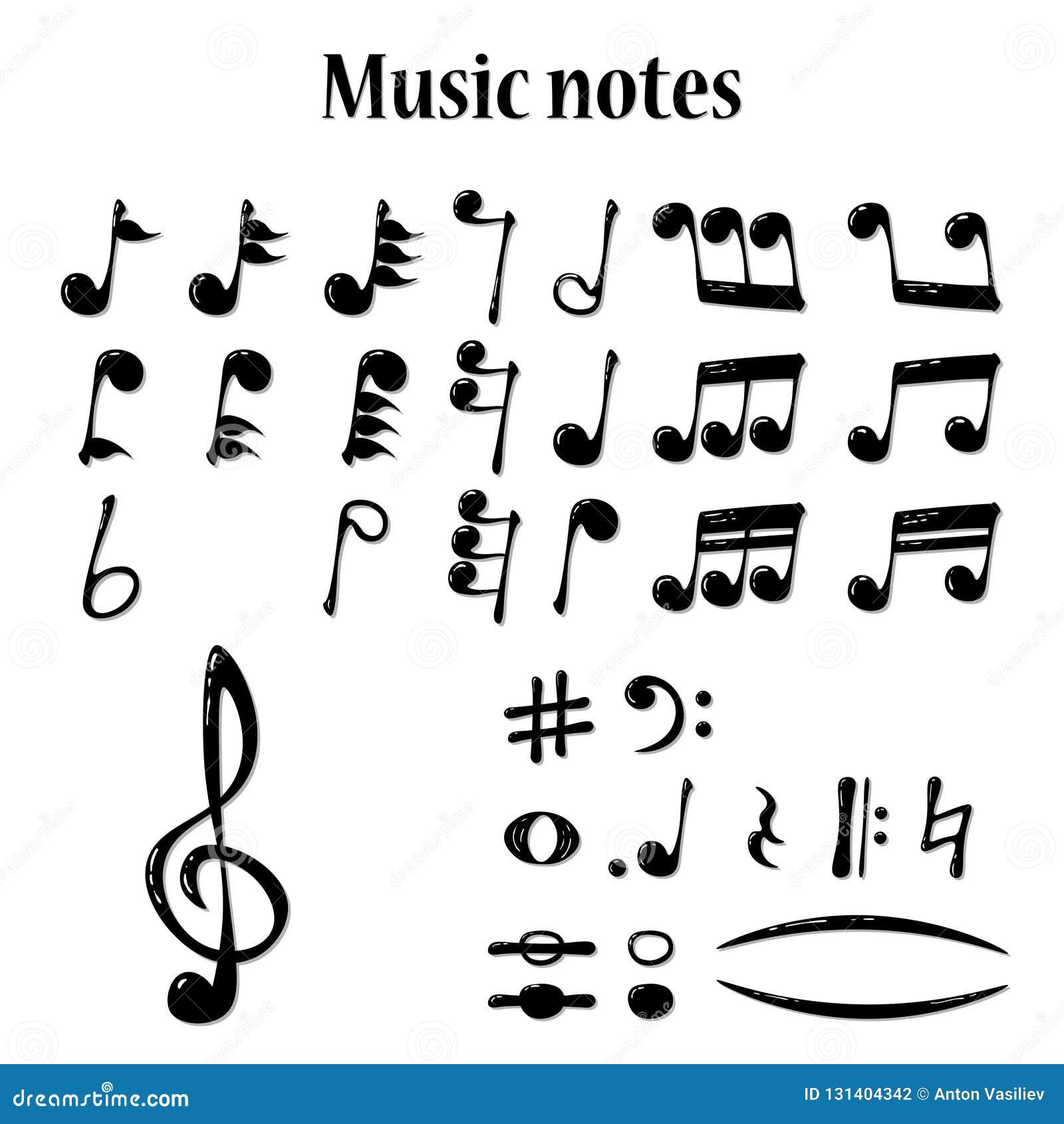 Pełny set realistyczne muzykalne notatki, wektor