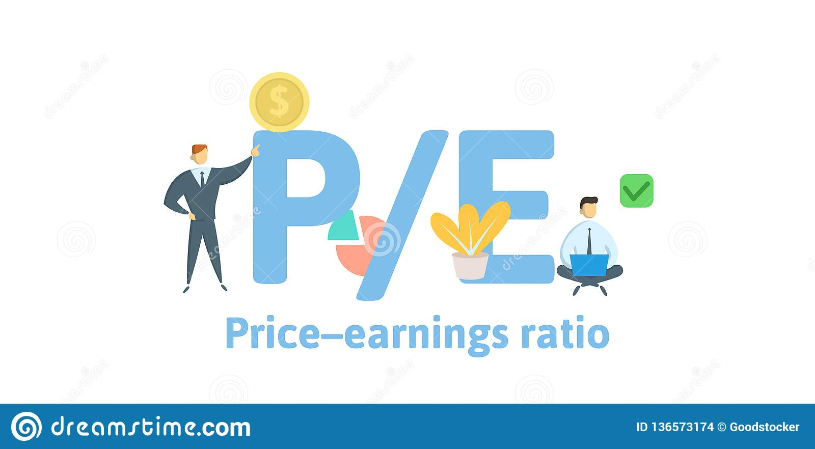 PE, Price to Earnings ratio. Concept with keywords, letters and icons. Flat vector illustration. Isolated on white