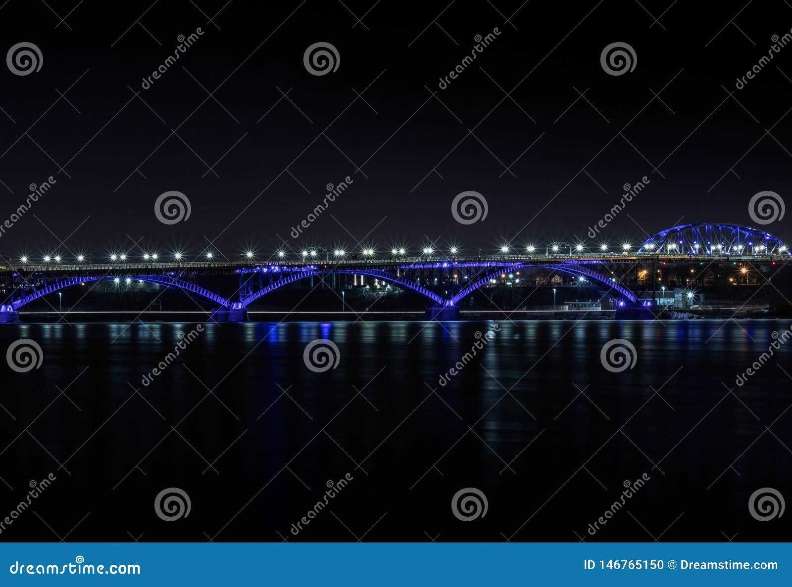 Peace Bridge lights the water