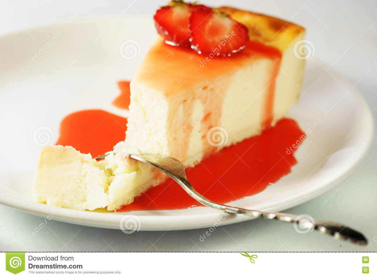 Peace Of Cheesecake With Strawberry Sauce Stock Image Image Of