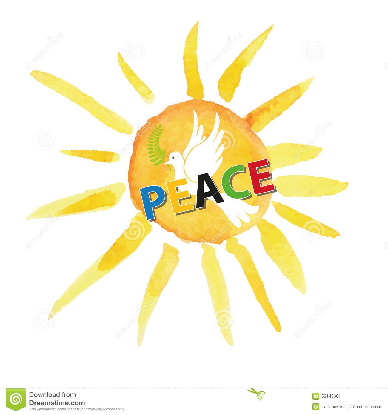 Peace day. White pigeon bird watercolor sun and ray background,colored ...