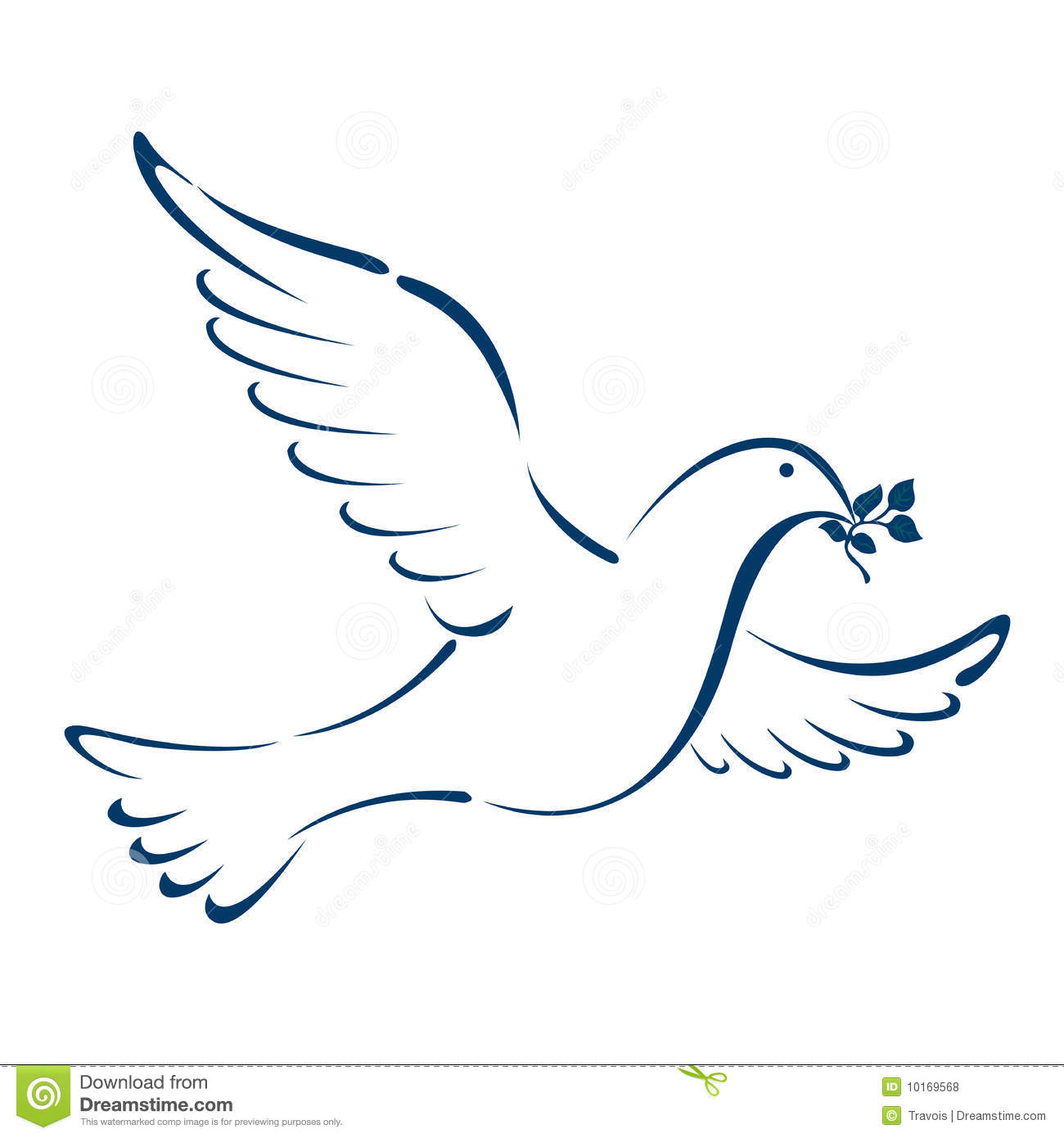 Dove illustration isolated on white background.