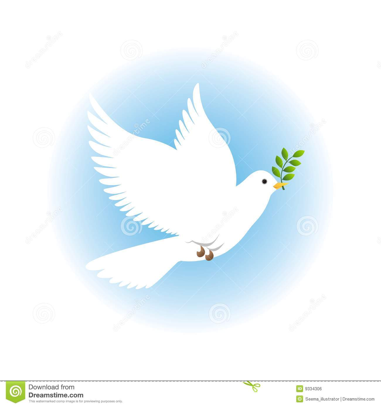 Vector illustration of peace dove with blue background.