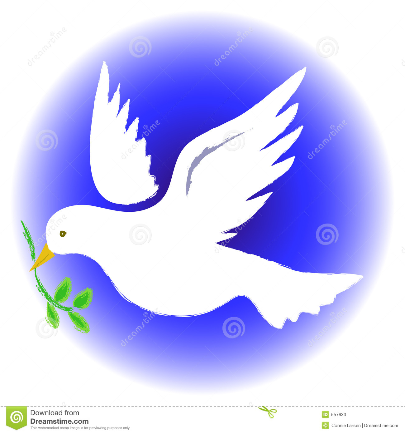 Illustration of a dove carrying an olive branch...symbolizing peace.