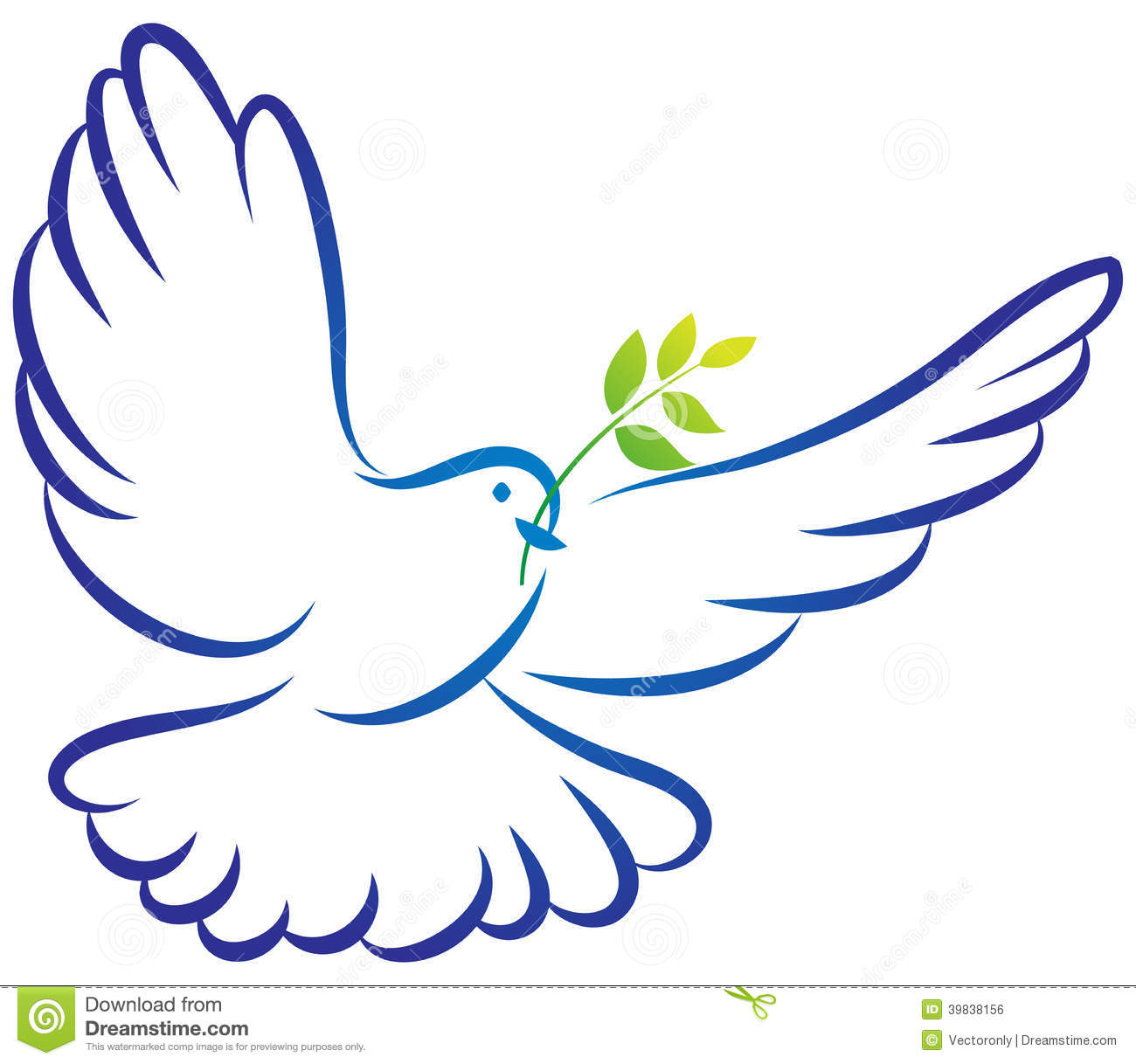 Vector illustration of peace dove on white background.