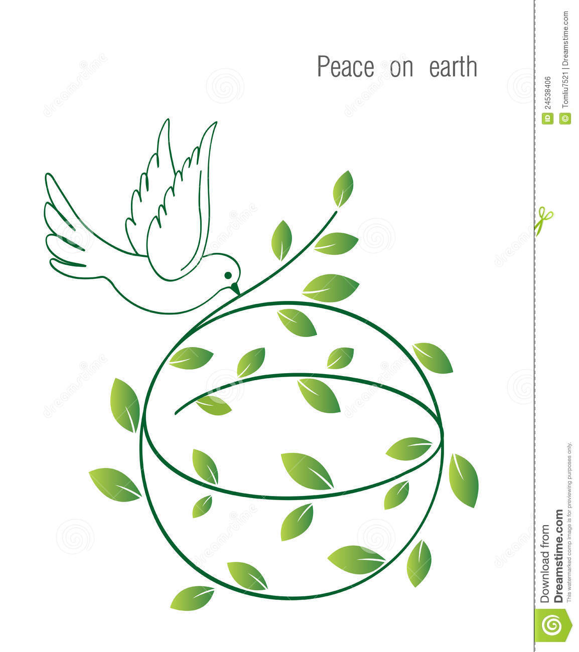 Illustration of a peace dove and globe with Olive branch Peace on ...