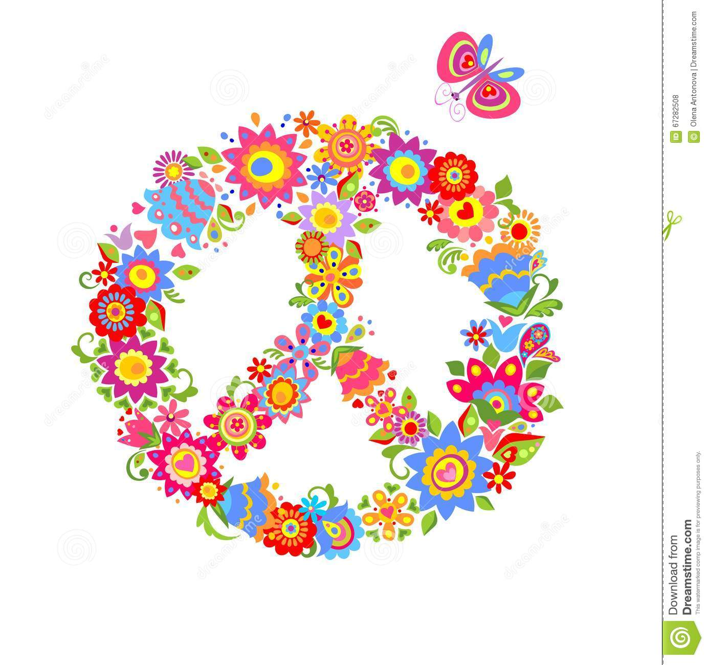 Peace flower symbol with colorful funny flowers stock vector peace flower symbol with colorful funny flowers biocorpaavc Choice Image
