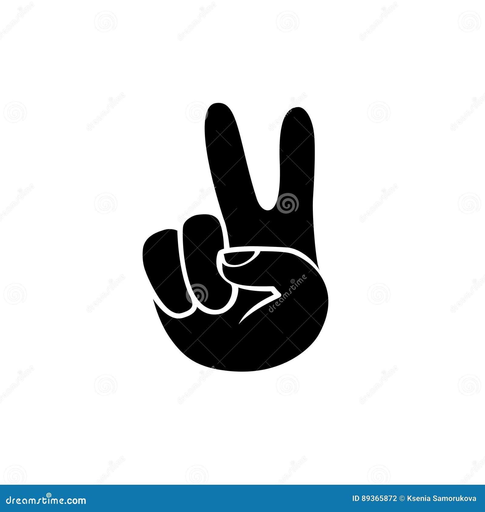 Peace Hand Symbol Black On White Icon Stock Vector Illustration