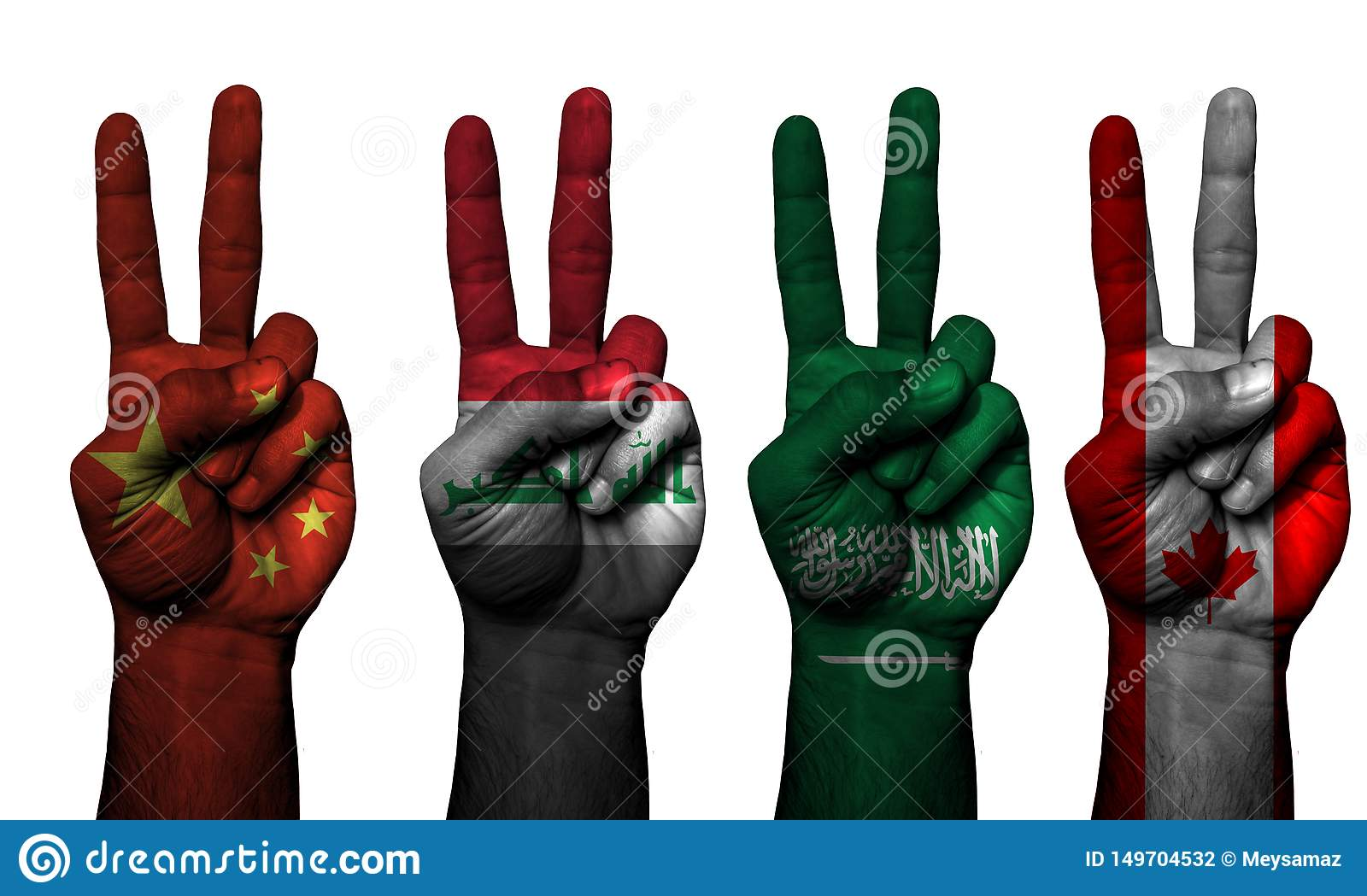 Peace hand symbol 4 countries