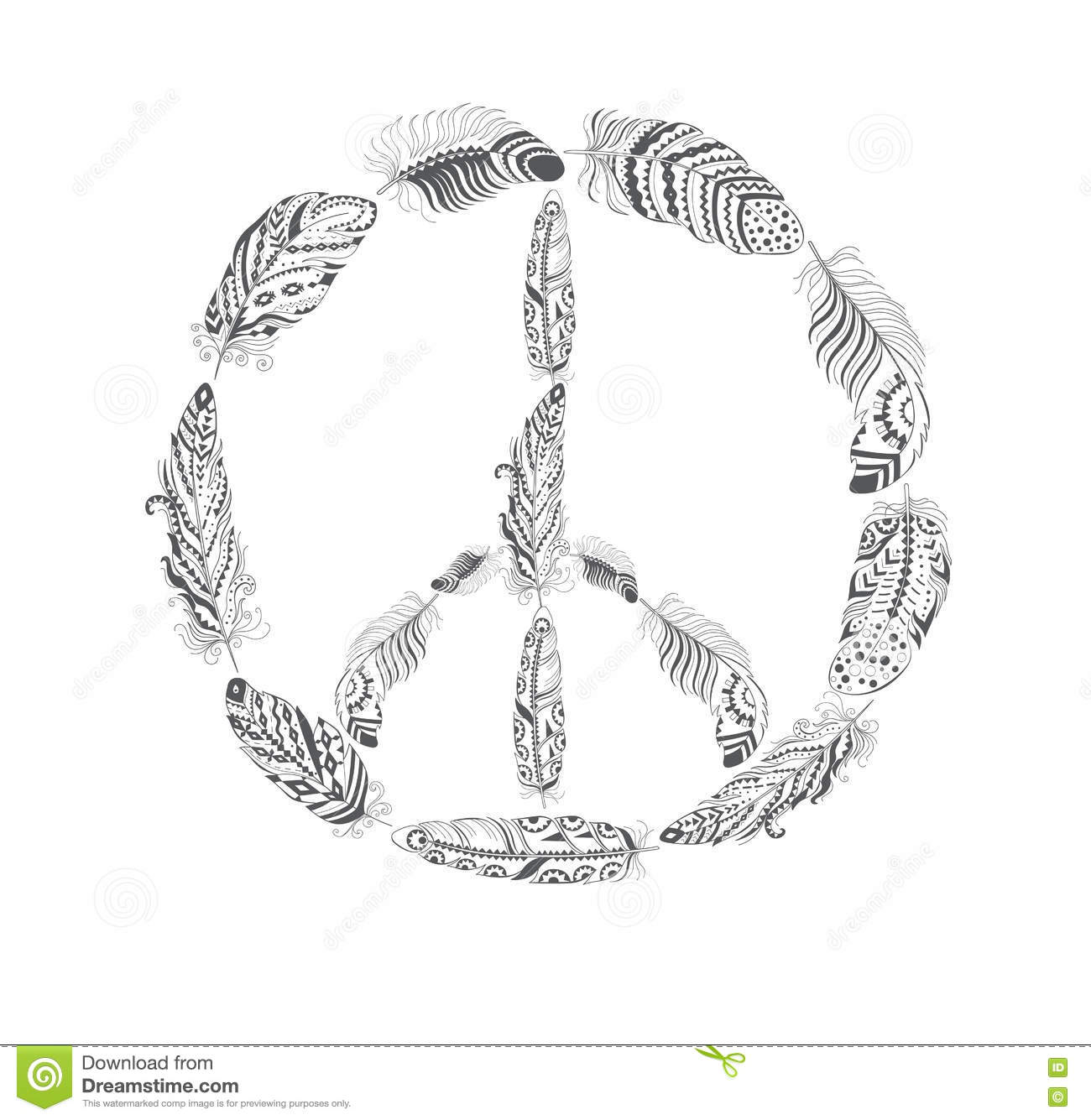 Peace Hippie Symbol With Feather In Boho Style Stock Vector