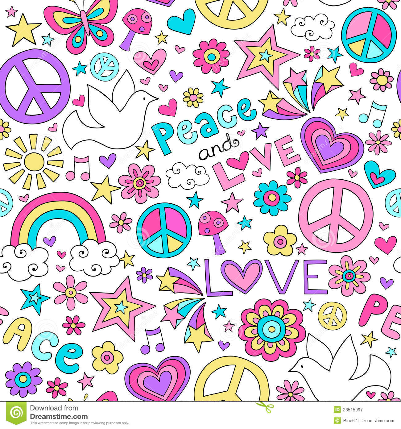 Peace And Love Dove Pattern Notebook Doodles Royalty Free