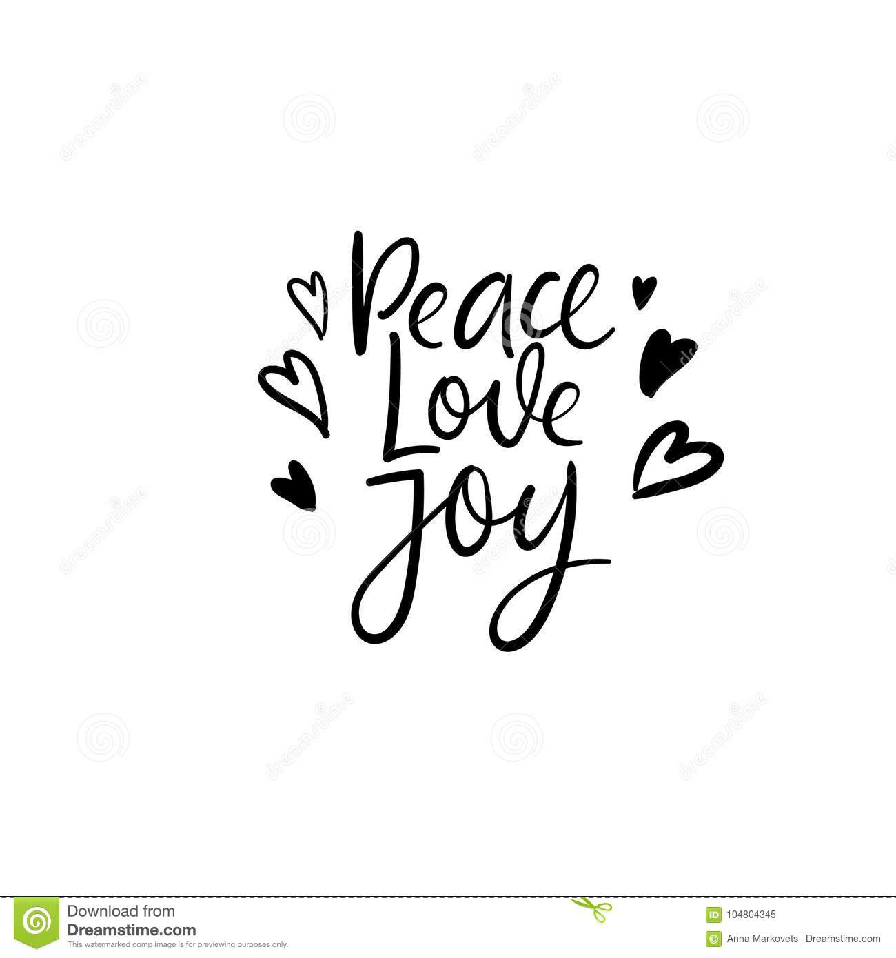 peace love joy christmas and happy new year cards modern calligraphy hand lettering