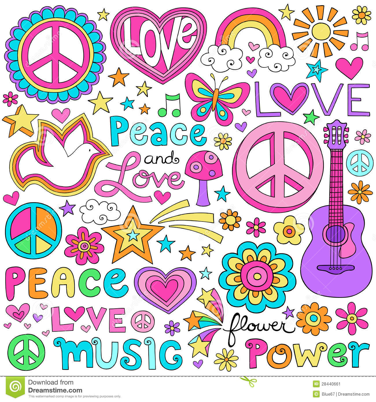 Peace love and music notebook doodles vector set stock for Canciones para el jardin de infantes