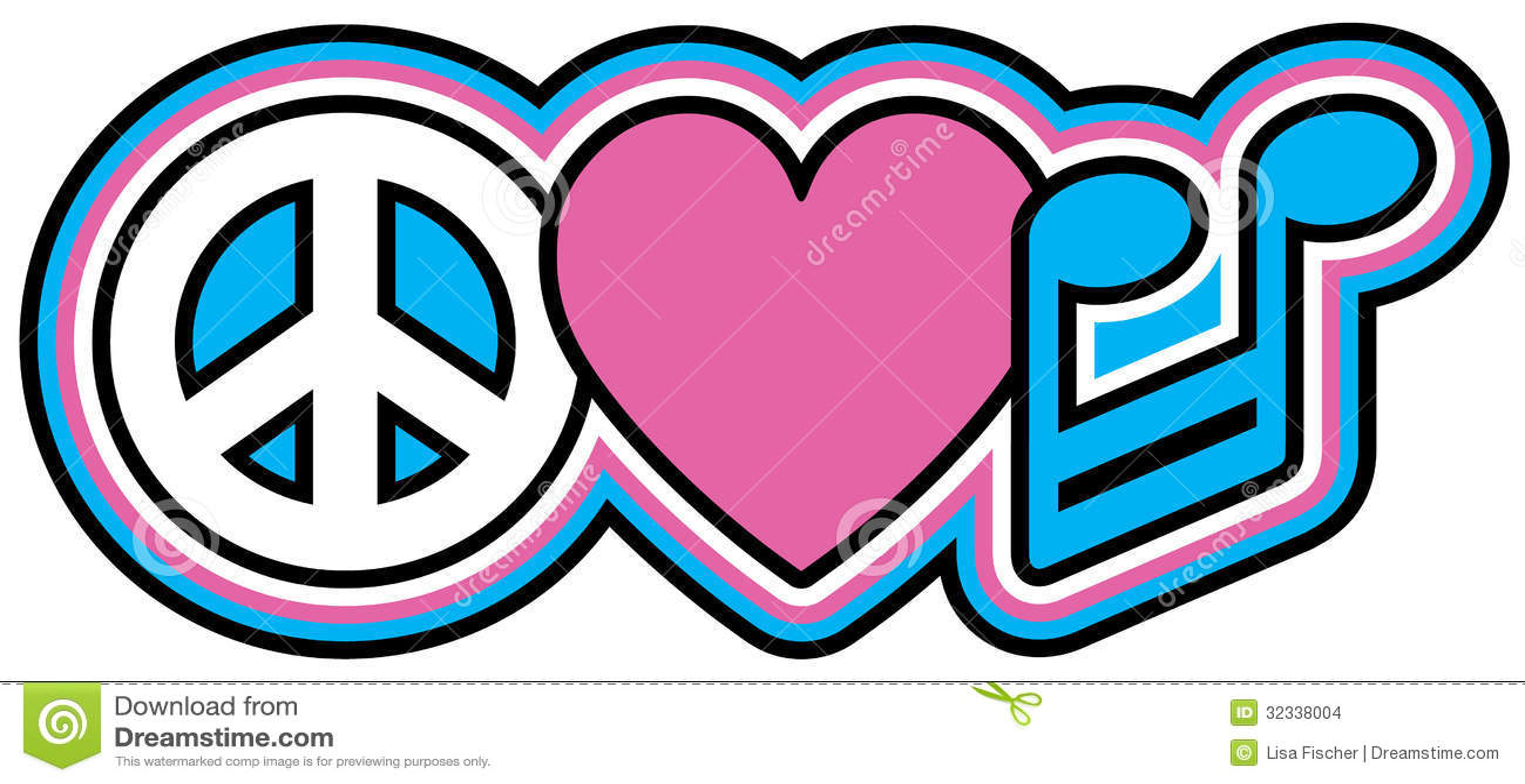 Peace love music stock vector illustration of symbols 32338004 peace love music biocorpaavc Choice Image