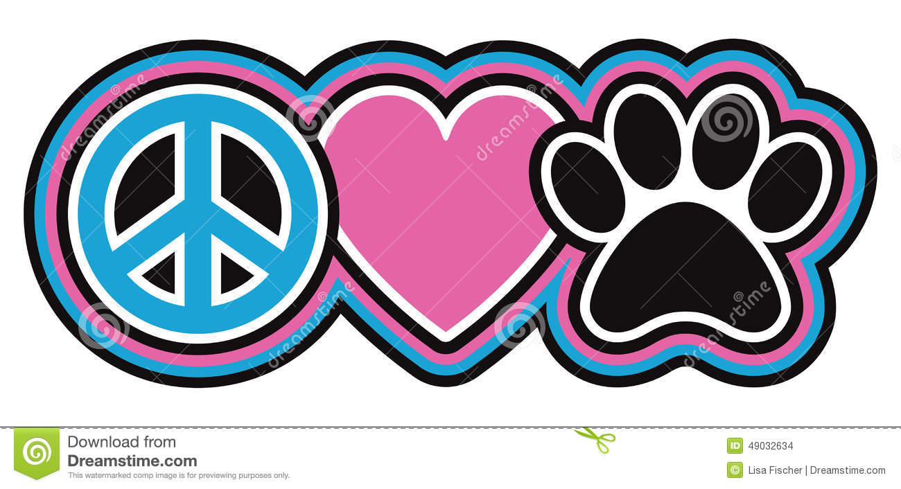 Peace Love Pets Stock Vector Image 49032634