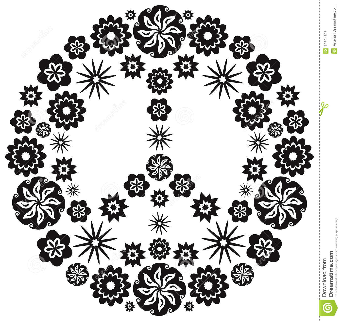 Peace And Love Symbol Made Of Flowers Vector Illustration Stock