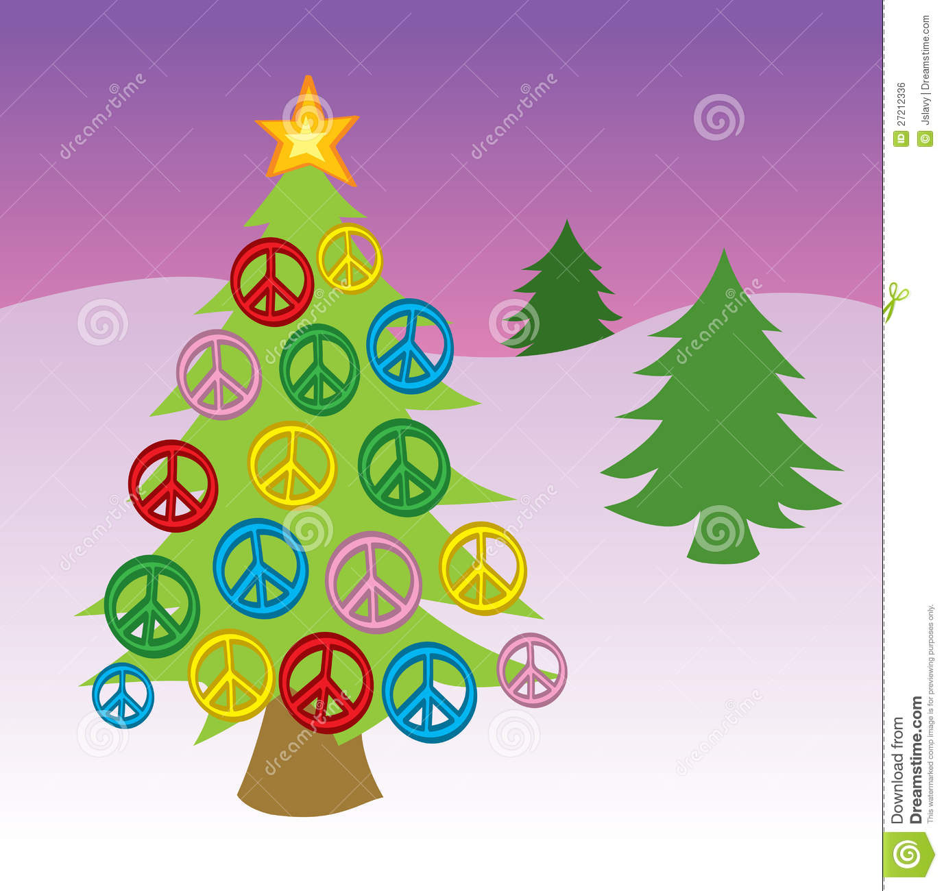Peace Christmas Sign.Peace Sign Christmas Tree Stock Vector Illustration Of