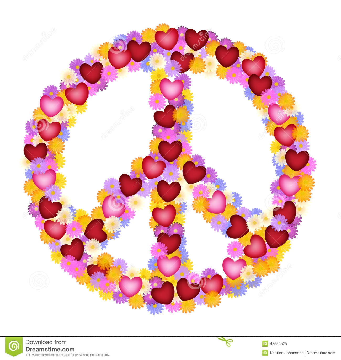 Peace sign of flower and hearts stock illustration illustration peace sign of flower and hearts biocorpaavc