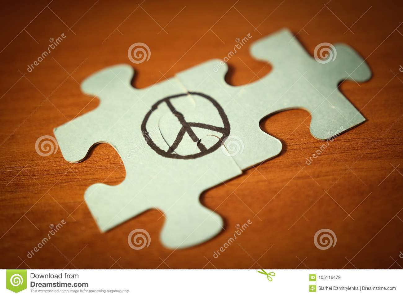 Peace sign made up of puzzle. Peace world day concept