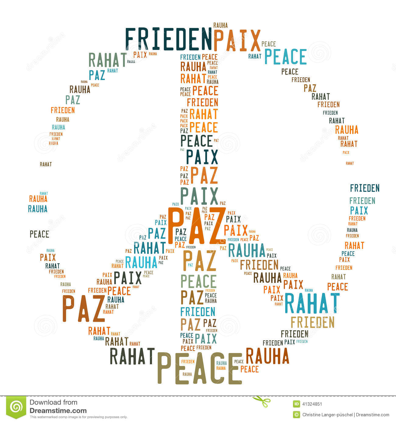 peace sign shaped word cloud stock illustration