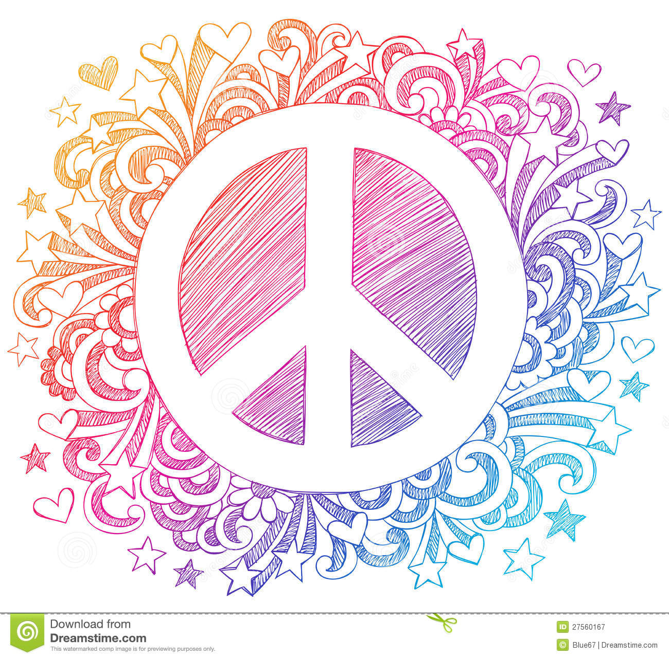 Peace Sign Sketchy Doodle Vector
