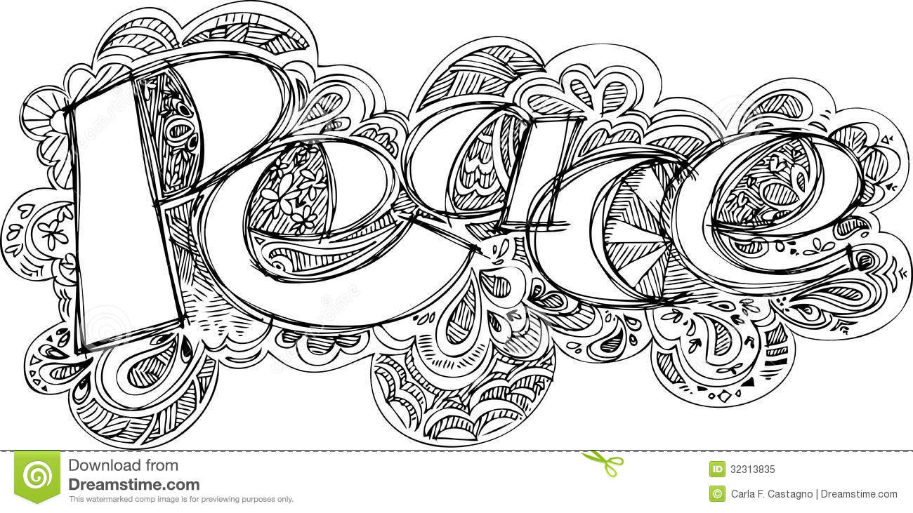 Scribble Drawing In Art Therapy : Coloring peace sketched doodles vector stock