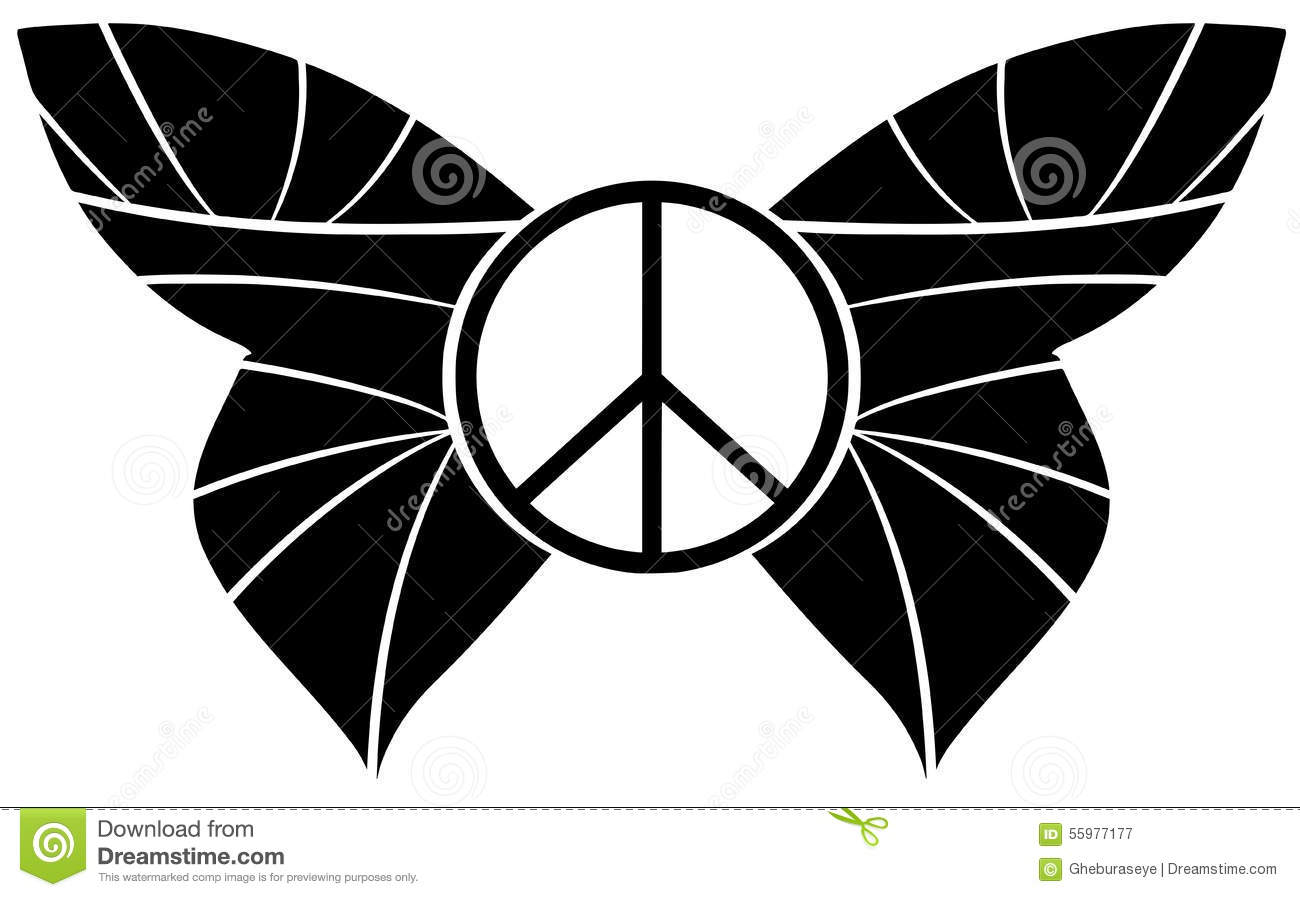 Peace Symbol With Butterfly Wings Isolated Stock Vector