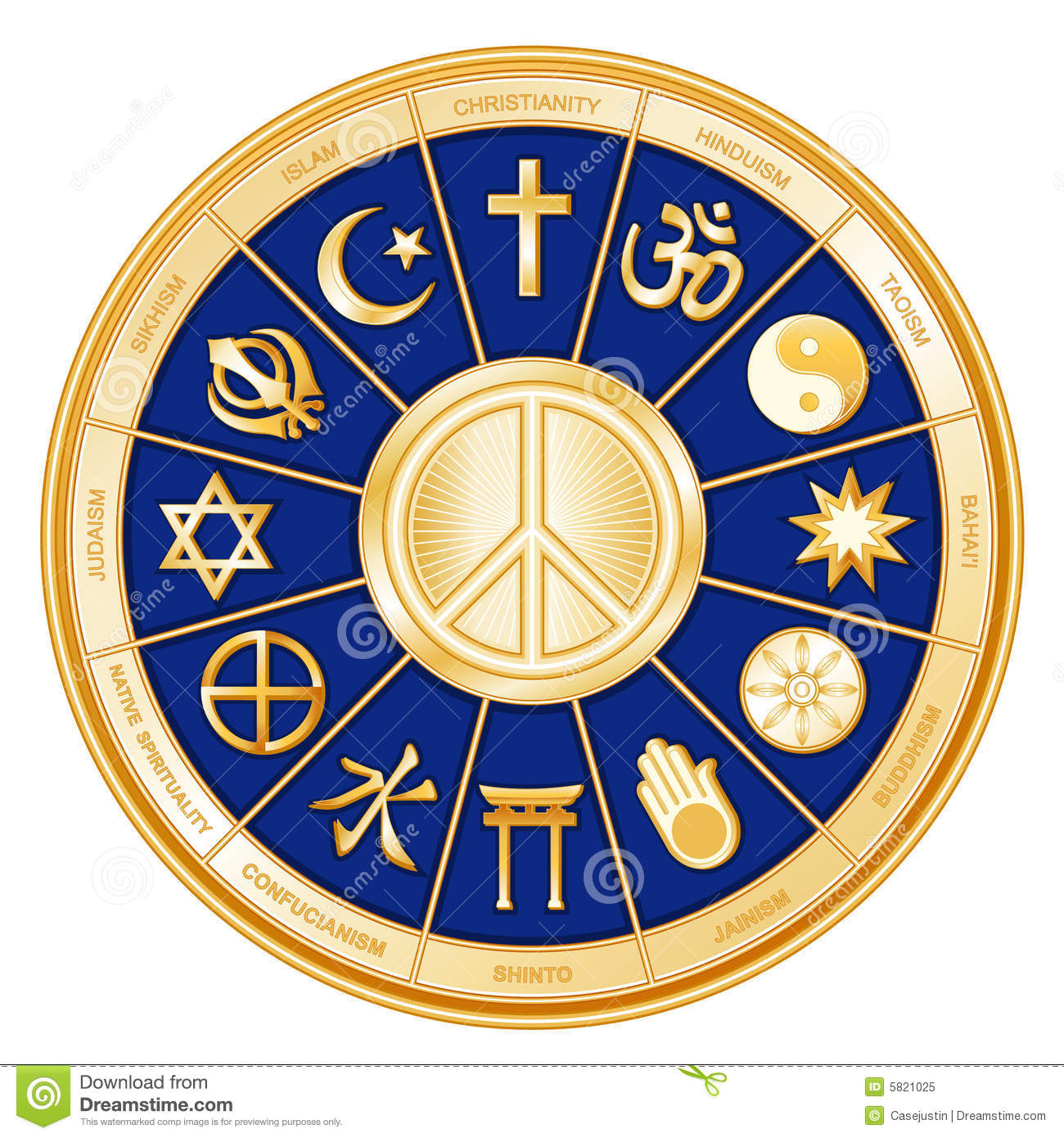 Peace Symbol World Religions Faiths Blue Stock Vector