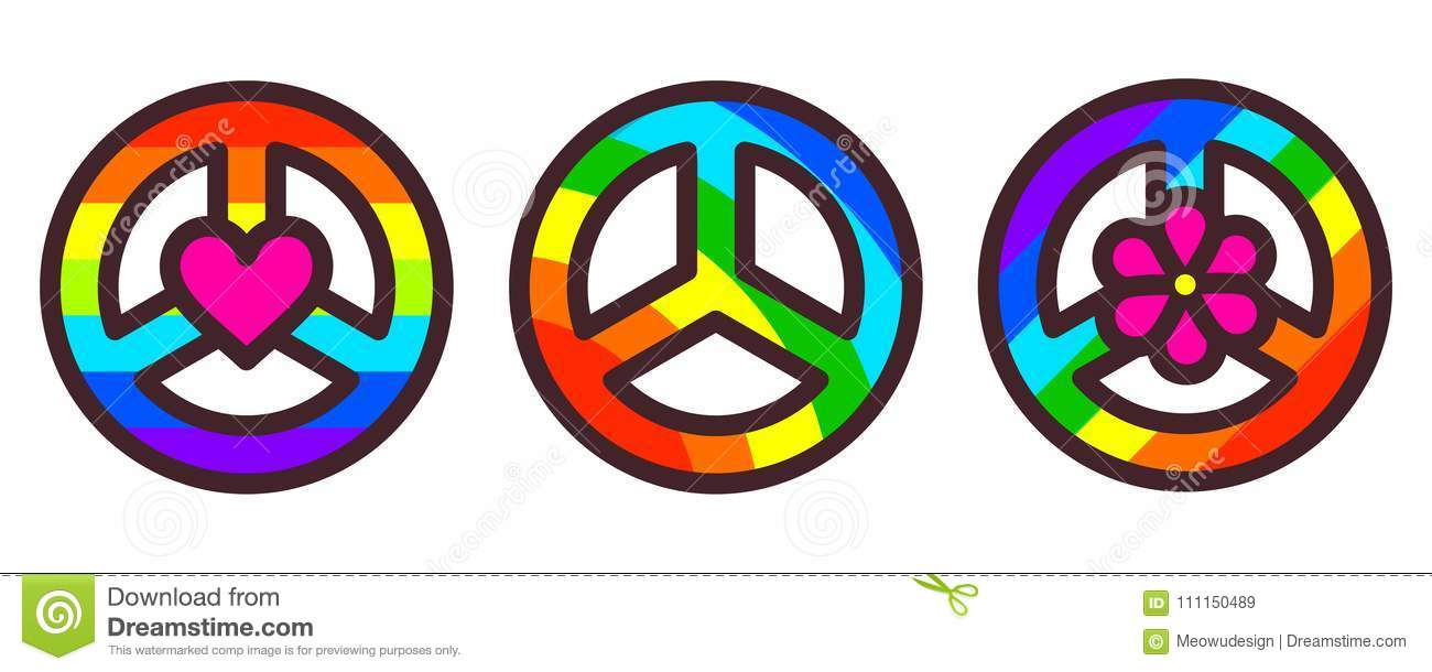83cf02fca Peace symbol set, rainbow color pacific sign, vector illustration in modern line  art style