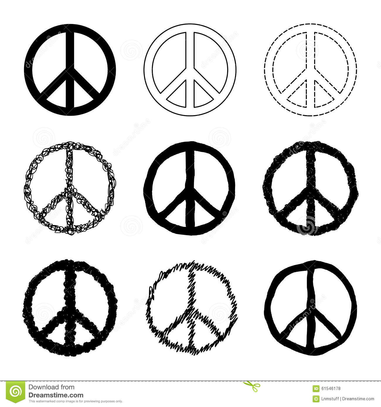 Peace Symbol Vector Set Stock Vector Illustration Of Abstract