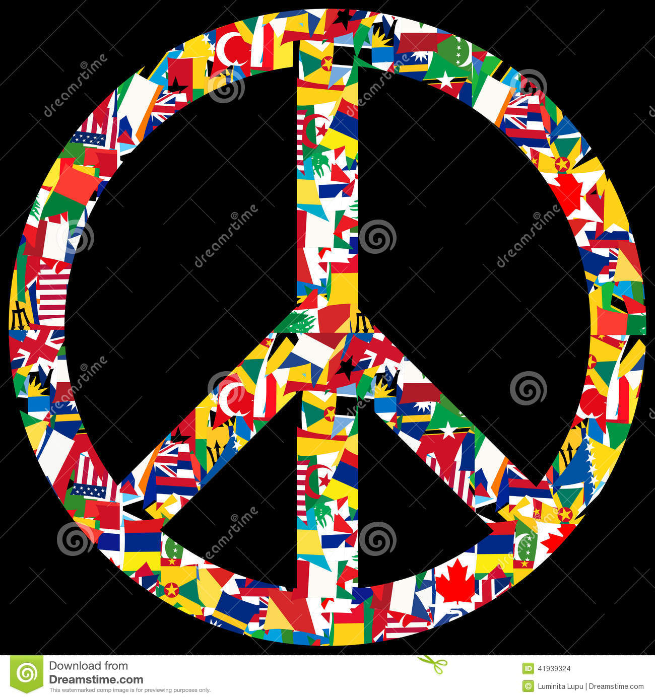 peace symbol with world flags stock illustration