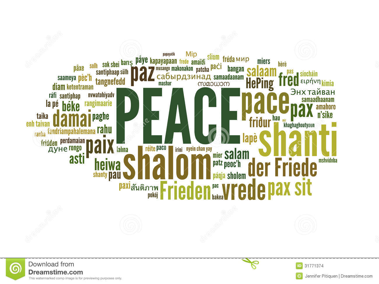 Peace stock photo image of green dialect background for Green in different languages