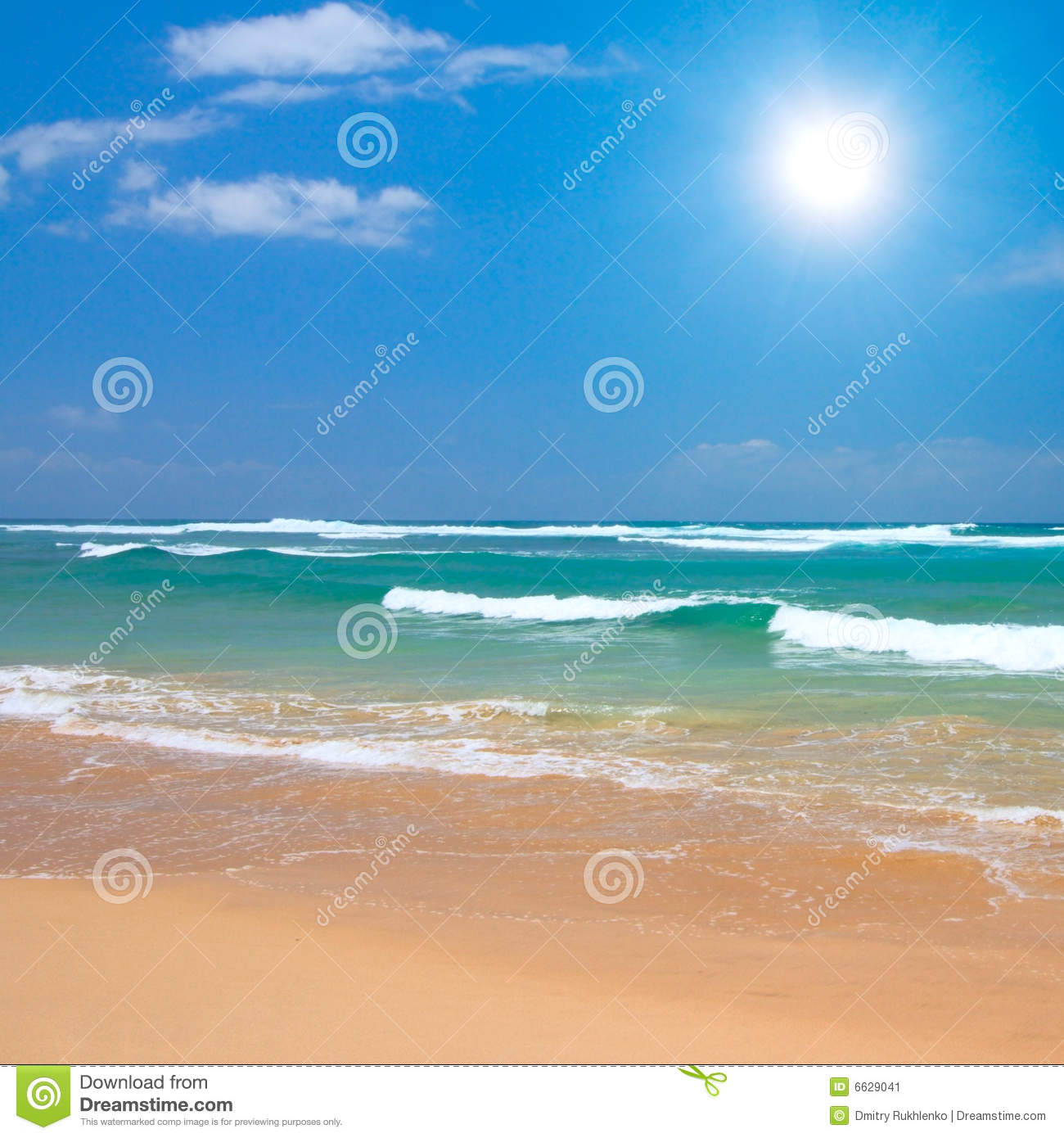 Tropical Beach And Peaceful Ocean: Peaceful Beach Scene Stock Image. Image Of Vacations