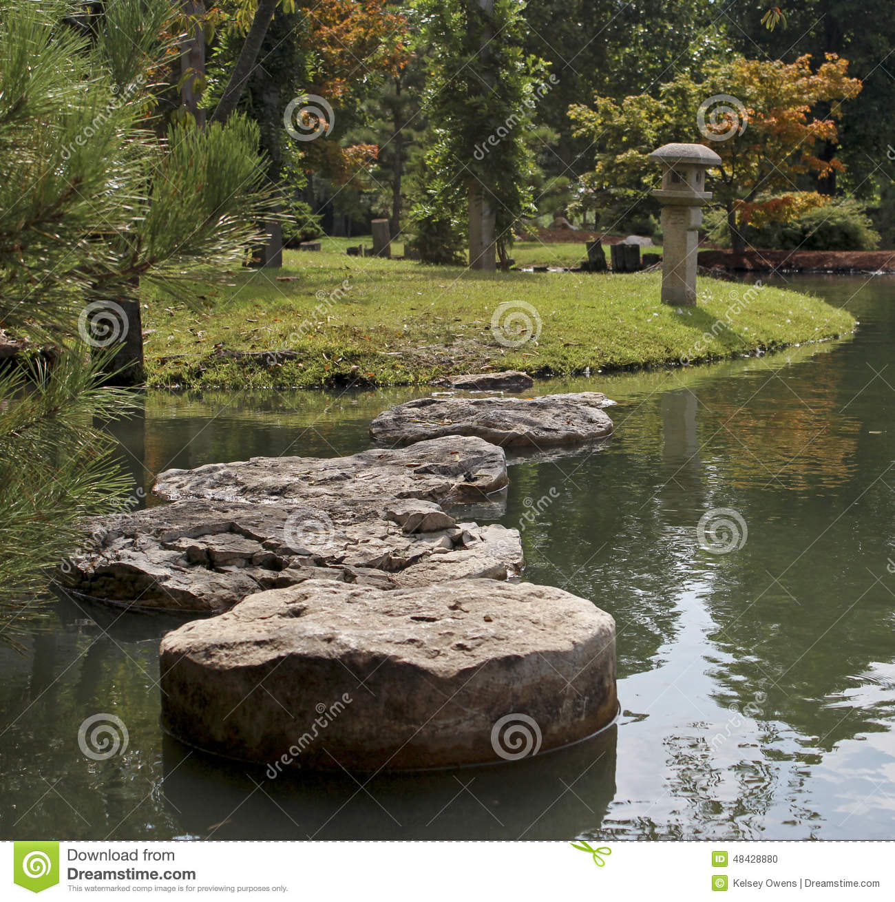 Peaceful Garden Path Stepping Stones Stock Photo Image 48428880