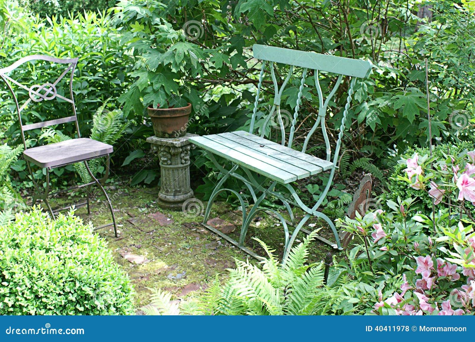 Peaceful Garden Seating Stock Photo - Image: 40411978