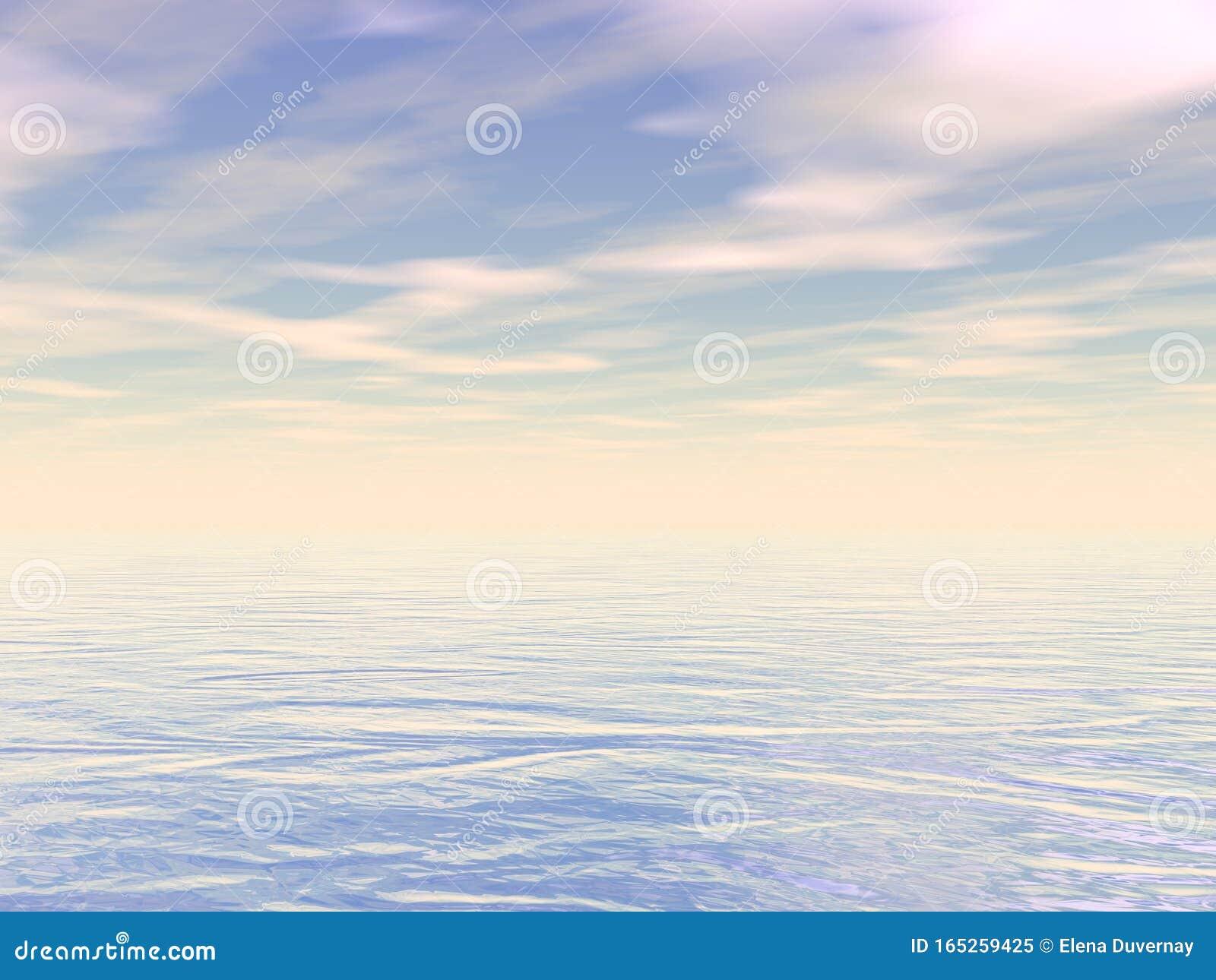 Peaceful ocean or sea water by sunset - 3D render