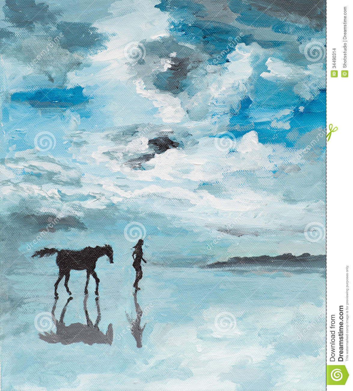 Peaceful Scene, Man And Horse Running On Water Stock