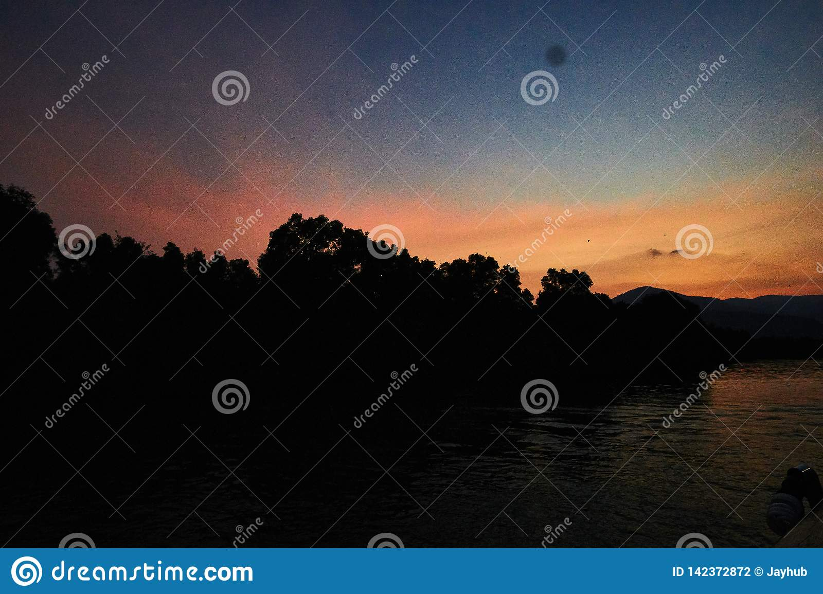 Peaceful Sunset over mountain in Kampot Cambodia